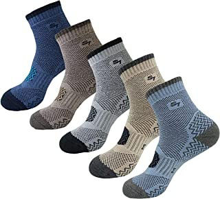 SEOULSTORY7 5pack Men's Full Cushion Mid Quarter Length Hiking Socks