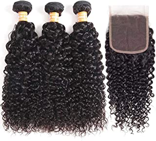 VTAOZI Hair Brazilian Virgin Curly Hair 3 Bundles with Lace Closure Free Part 100% Unprocessed Brazilian Kinky Curly Human Hair Bundles with 4x4 Lace Closure Natural Color (10 12 14 + 10 Free Part)
