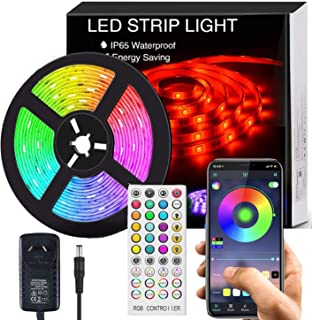 Bluetooth LED Strip Lights Music Sync, Waterproof 5m 5050 RGB 150 LEDs Light Strip with APP and Remote Control, Tape Light...