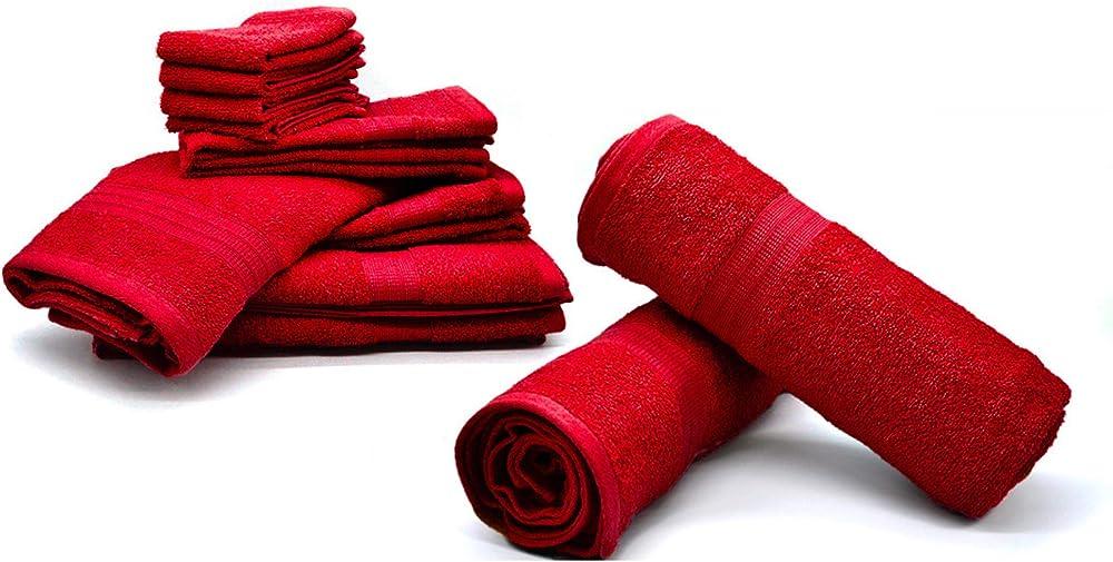 Bassetti ,set di 10 pezzi, di asciugamani in spugna, vari colori, 100% cotone