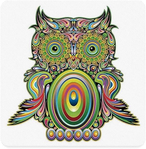 猫头鹰家居装饰广场杯垫华丽多彩猫头鹰与民族元素传奇羽毛的宇宙迷幻艺术品家居月月 L 个月月 W