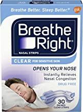 Breathe Right Clear for Sensitive Skin Small/Medium Drug-Free Nasal Strips for Nasal Congestion Relief, 30 count