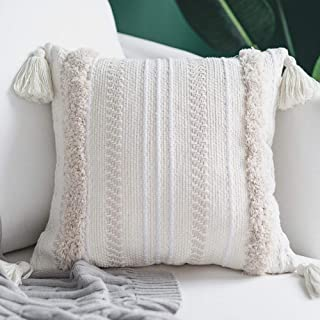blue page Boho Neutral Decorative Pillows Cover, Cotton Woven Tufted Pillows Cover for Couch Sofa Bedroom Living Room, Indoor Outdoor Large Pillow Cases with Tassels (20X20 inch, Yellowy Cream)
