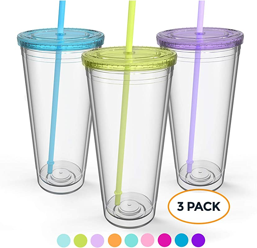 Maars Insulated Travel Tumblers 32 Oz Double Wall Acrylic 3 Pack