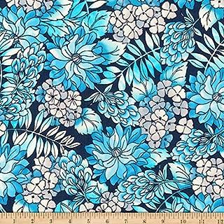 Robert Kaufman 0567775 Kaufman London Calling Lawn Blue Flowers Fabric by The Yard,