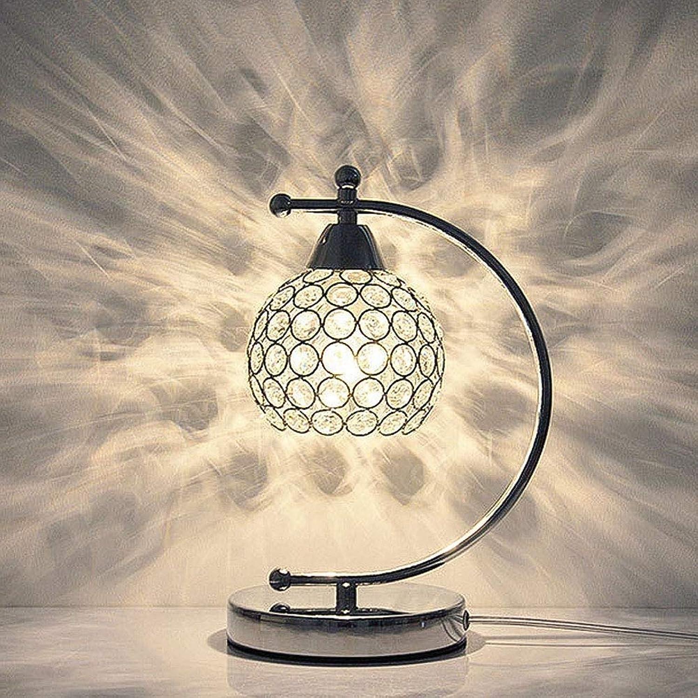 K9 Kristall Nachttischlampe, Moderne Einfache Mini Schlafzimmer Schreibtisch Tischlampe E27 Aluminium für Wohnzimmer Esszimmer Innenbeleuchtung Wei