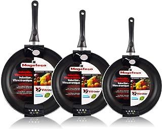 Magefesa Vitral - Set Juego 3 Sartenes 18-20-24 cm Aluminio, inducción, Antiadherente Libre de PFOA, Limpieza lavavajillas Apta para Todas Las cocinas, vitroceramica, Gas