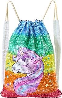 Basumee Unicorn Mermaid Sequin Bag Gym Bags Reversible Sequins Drawstring Backpacks
