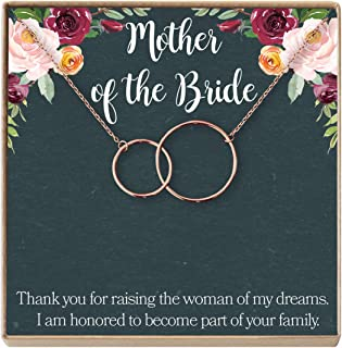 Mother of The Bride Gift Necklace: Parent of Bride Jewelry, Wedding, 2 Interlocking Circles