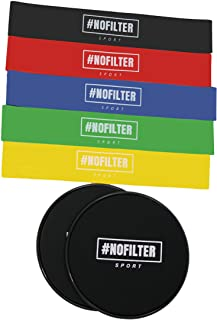 #Nofilter Sport - Resistance Bands and Sliders- Full Body Workout Equipment | Works Smoothly for Home/Gym + 5 Pcs Stretch Resistance Loop Exercise Bands for Fitness Workouts