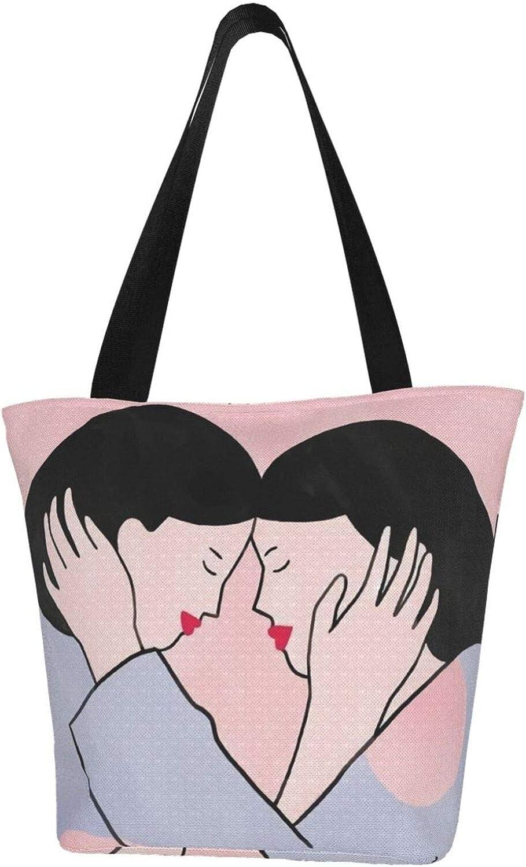 Lesbian Pride Pink Love Girls Themed Printed Women Canvas Handbag Zipper Shoulder Bag Work Booksbag Tote Purse Leisure Hobo Bag For Shopping