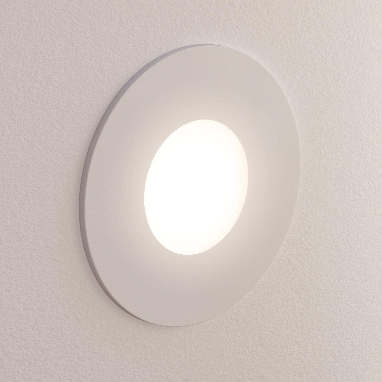 ledscom.de LED Treppen-Licht FEX Wand-Einbauleuchte, weiß, rund, 8,5cm Ø, 230V, warmweiß Weiß / Lichtfarbe: Warmweiß