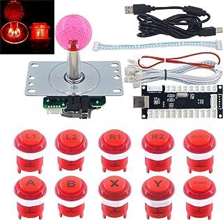 SJ@JXアーケードゲームLED DIYキットメカニカルキーボードスイッチアーケードLEDボタンLEDジョイスティックコントローラゼロディレイUSBエンコーダ用PC MAME Retropie赤