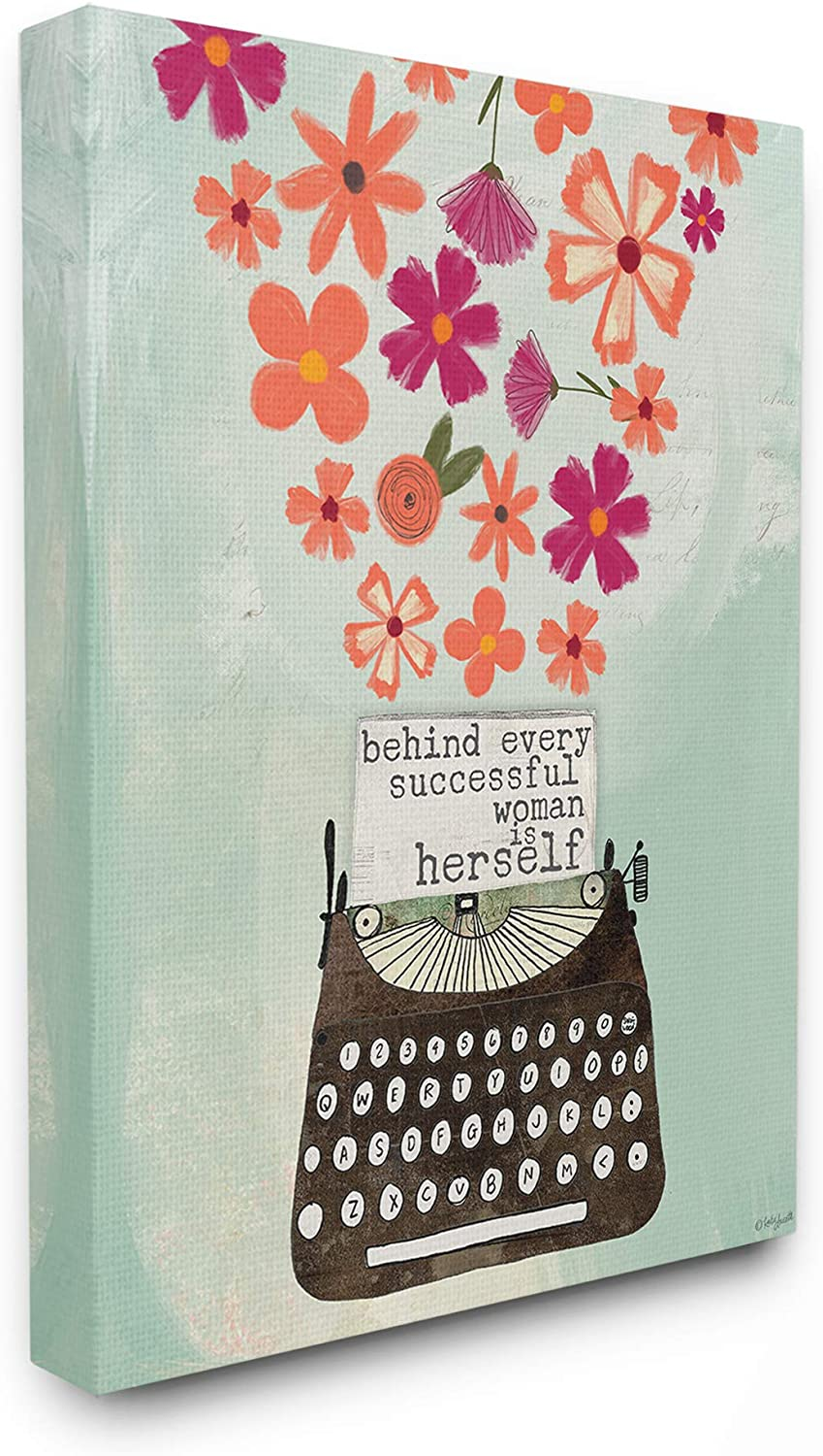 The Stupell Home Decor Successful Woman Pink and orange Floral Explosion Typewriter Stretched Canvas Wall Art 11x14 Multi-color