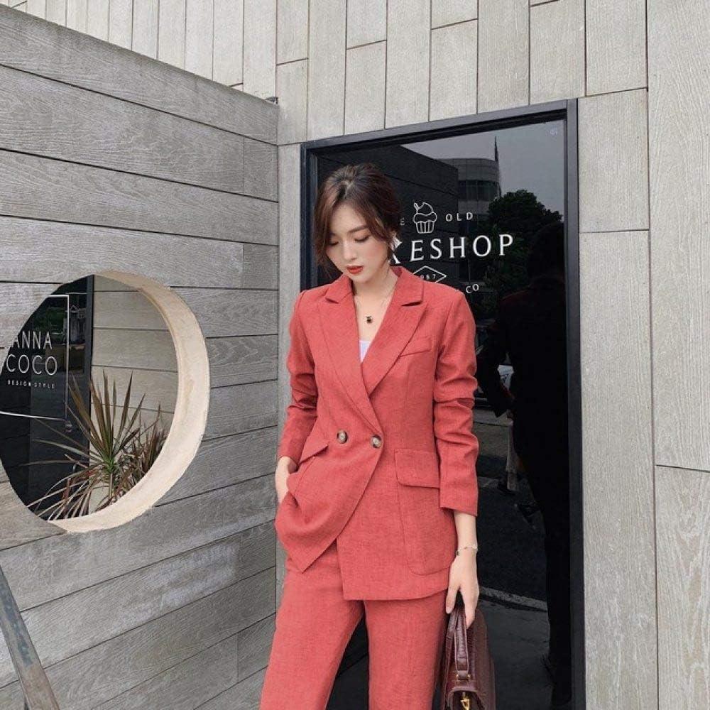 Women Blazer Suits Set,Autumn Vintage Women Pant Suit Notched Blazer Jacket and Pant Wear Suits for Ladies Casual Office Business Set