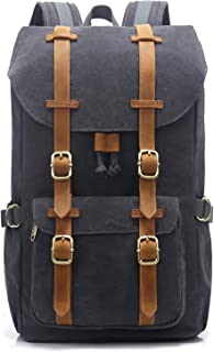 "EverVanz Canvas Backpack for Travel Hiking Casual School Daypack Fits 15"" Laptop"