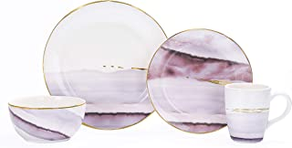 Bico Lilac Purple Watercolor Marble Gold Decor Handcrafted Ceramic 4 pcs Placing Set/Dinnerware Service for 1, Microwave Safe & Handwash, Birthday Anniversary House Warming Gift