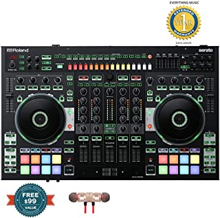 Roland 4-channel, 2-Deck Serato DJ Controller (DJ-808) includes Free Wireless Earbuds - Stereo Bluetooth In-ear and 1 Year Everything Music Extended Warranty