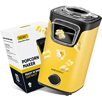MEOMY Popcorn Popper Machine, Electric Hot Air Popcorn Maker with Measuring Cups, Oil Free, Perfect for Birthday Parties, Movie Nights, Yellow
