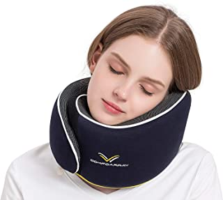 ComfoArray Travel Pillow, Neck Pillow for Airplane and Car. New Upgrade in 2019,Wider Adjustable Range, Suitable for Everyone's Size. Enhanced Front Support Effect.A Whole Set of Travel Kit.