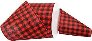 """Morex Ribbon Buffalo Plaid Ribbon 6"""" x 100 Yd red 7457.150/33-613"""