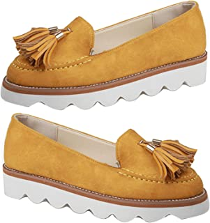 Dames Schoenen, Vrouwen Casual Anti-slip All-matched Ronde Teen Lage Top Slip-on Flatform Loafers