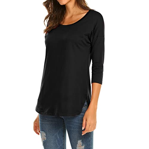 67405cab Sherosa Women's Casual 3/4 sleeve Loose Tunic Tops Scoop Neck T-Shirt