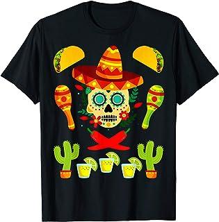 e67108f4f1a6 Fiesta Cinco De Mayo T-Shirt Sombrero Skull Tacos Shirt