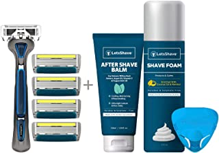LetsShave Pro 6 Plus Shaving Razor - Pack of 4 Blades with Razor Cap, After Shave Balm and Shave Foam - 200 g