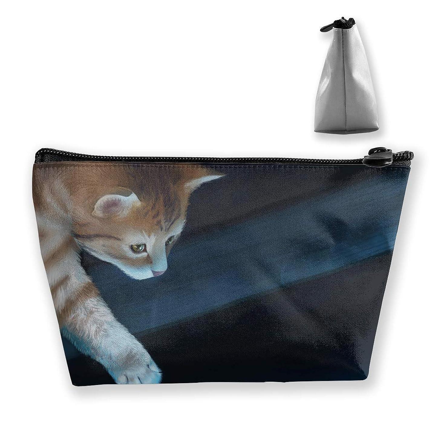 確認する中世の民主主義台形 レディース 化粧ポーチ トラベルポーチ 旅行 ハンドバッグ 猫キャット コスメ メイクポーチ コイン 鍵 小物入れ 化粧品 収納ケース