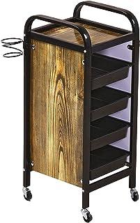 木型 サロントロリー 引き出し付き& ローリングホイール、理髪ツールホルダー スタイリスト美容師のために、36×32×85cm (Color : Black)