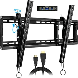 FOZIMOA Tilt TV Wall Mount Bracket Level After Installation for Most 32-80 inch Flat Curved LED LCD Plasma Screen up to 165 lbs Low Profile Max VESA 600x400mm HDMI Cable Bubble Level Included