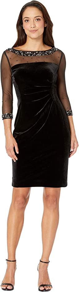 Petite Mesh and Velvet Combo Sheath Dress