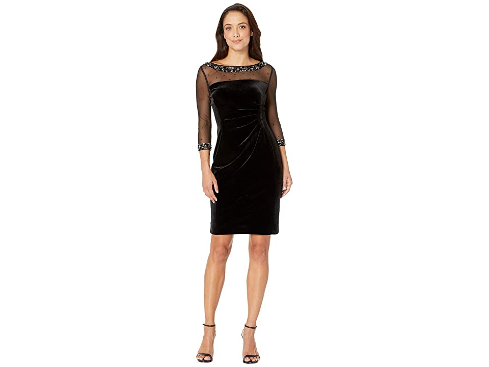 Tahari by ASL Petite Mesh and Velvet Combo Sheath Dress (Black) Women