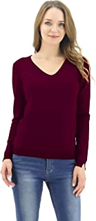 BENANCY Women's Simple V-Neck Pullover Soft Knit Long Sleeve Sweater Top