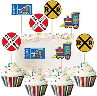 Coxeer 48PCS Cake Topper Decorative Sign Cake Topper Wedding Cake Topper for Party