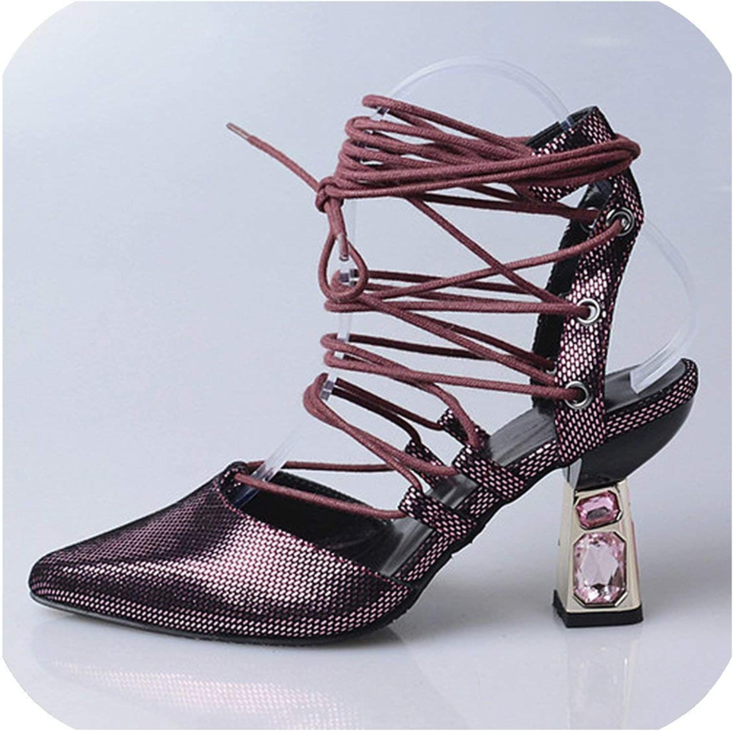 Designer Silver Bling Crystal Women Pointed Toe Sexy High Heels Lace Up Ladies Sandals Women Pumps Female Stiletto