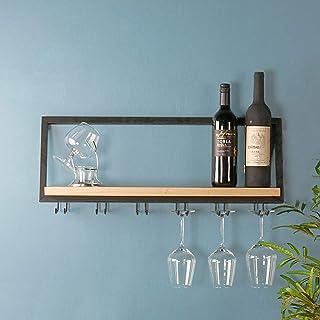 XWZJY Support de Stockage de vin en Bois avec 6 Support en Verre à Longue Tige étagère à Bouteilles Suspendue pour Barre à...