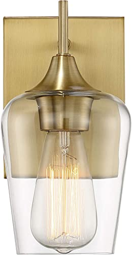 """2021 Savoy sale House 9-4030-1-322 Octave 1-Light Wall Sconce in a Warm Brass Finish online sale with Clear Glass (9.5"""" H x 5"""" W) online"""