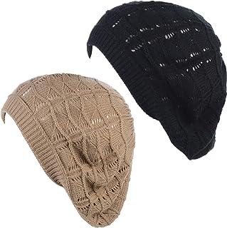 an Womens Knit Beanie Beret Hat Lightweight Fashion Accessory Crochet Cutouts