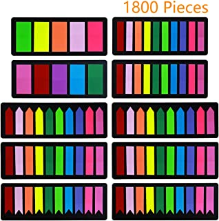 Colored Page Markers Sticky Index Tabs 1800 Pcs, Arrow Flag Tabs Sticky Notes for Page Markers [3 Designs, 3 Sizes, 10 Bright Colors] Easy to Stick, Removes Cleanly