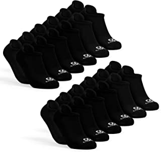 Athletics Mens Low Cut Socks Pack, 12-Pairs No Show Socks for Men, Cushioned Comfort Ankle Socks for Running Black 12-Pack