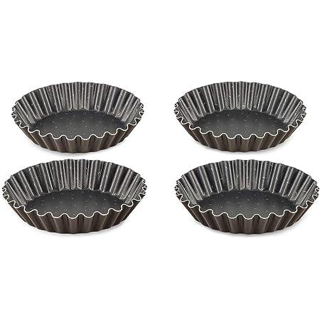 Tefal Perfectbake Lot de 4 Moules A Tartelettes 11cm Aluminium 100% Recyclé J5548102, fabriqué en France