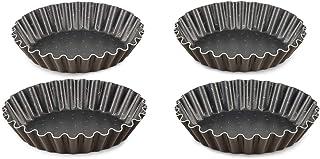 TEFAL 8021934 Set of 4 Tartlet molds, Aluminum, Chocolate, 11 x 9 x 2.5 cm