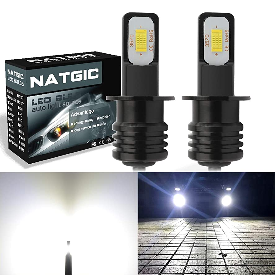 NATGIC H3 Extremely Bright LED Headlights Bulbs for Daytime Running Light and Fog Lights Pack of 2-12V 6500K Xenon 2400LM Waterproof IP68 75W White