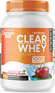 Doctor's Best Clear Whey Protein Isolate Great Tasting & Non-Bloating Protein Powder, 100% Hydrolyzed, Native Whey, Muscle, Heart & Immunity Health, 20 Grams of Protein & BCAAs, Cherry Rush, 19.5 Oz.
