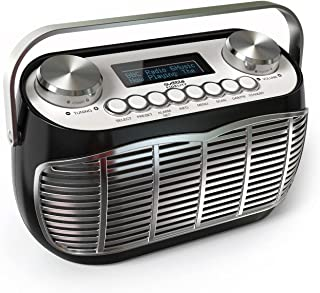 Detroit DAB Radio Alarm Clock Bedside Mains Powered Or Battery DAB/DAB+/FM Retro Radio with LCD Display Clock Radio (Black)