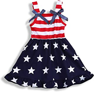 YOUNGER TREE Toddler Baby Girls Summer Outfit Stars and Stripes Bow-Knot Dress Independent's Day Suits