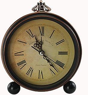 GMMH Tischuhr Nostalgie Antik Vintage Retro Metall Standuhr Dekowecker Uhr Wecker Design antik braun 27-1