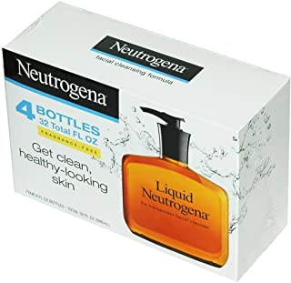 Neutrogena Fragrance Free Liquid Neutrogena, Facial Cleansing Formula, 8 oz Pump Bottles (Pack of 4)